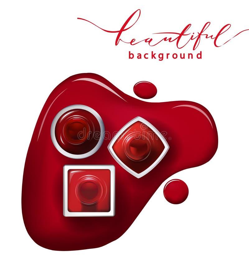 红色指甲油顶视图在白色背景化妆用品和时尚背景传染媒介的 向量例证