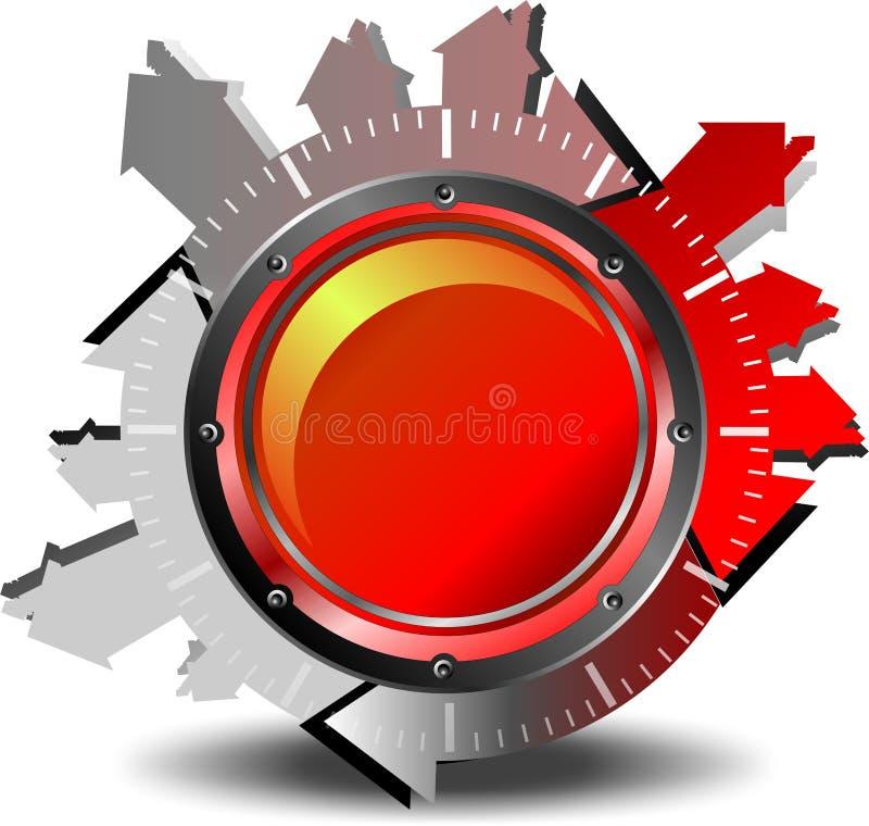 红色按钮下载 库存例证