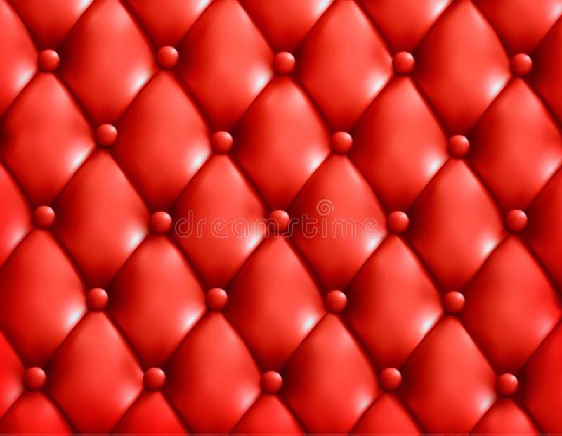 红色按钮装缨球皮革背景。 库存例证