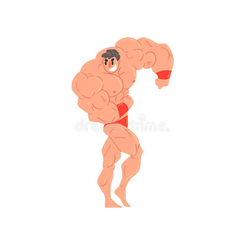 红色摘要的人和在展示肌肉的类固醇的腕带爱好健美者滑稽的微笑的字符作为大力士 库存例证