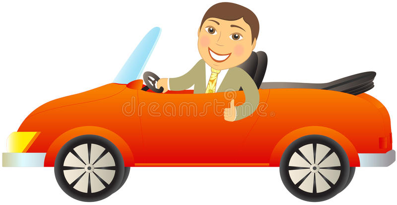红色敞蓬车的愉快的人 库存例证