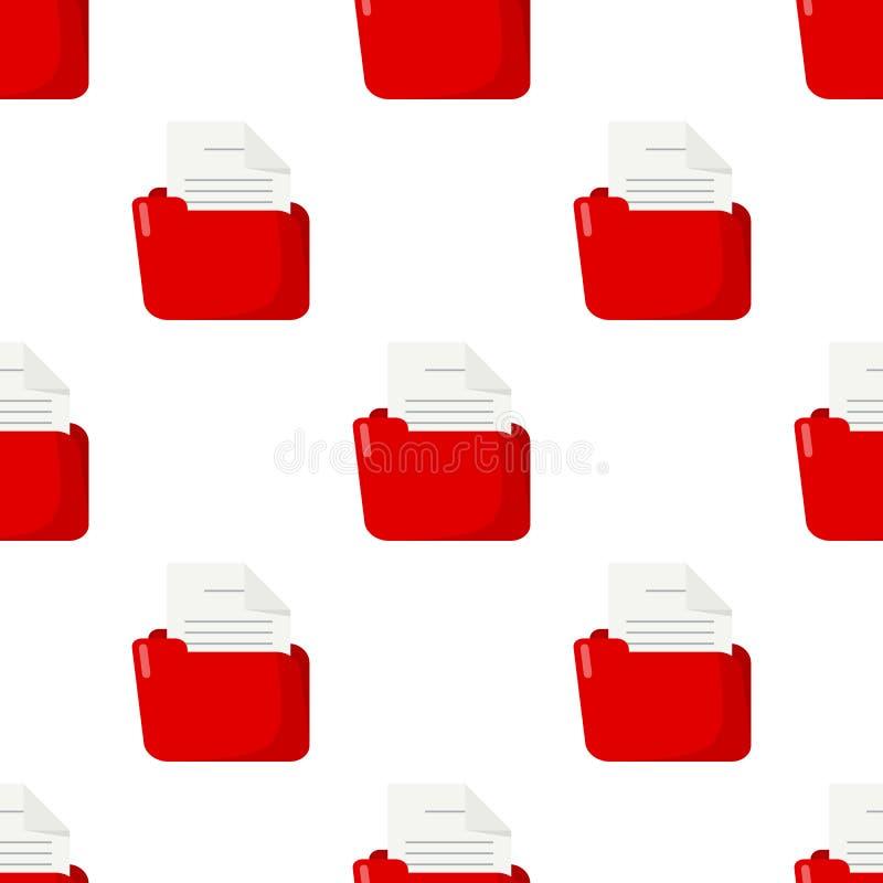 红色文件夹和文件无缝的样式 皇族释放例证