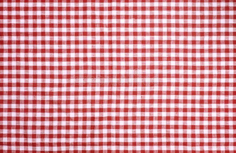 红色方格的桌布纹理 免版税库存照片