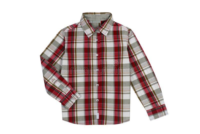 红色方格的男孩衬衣 免版税库存图片