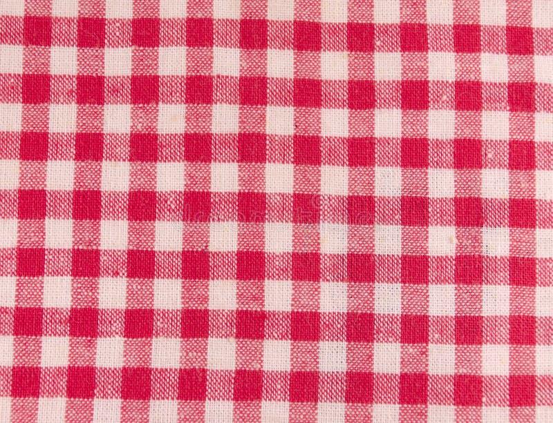 红色方格的织品 图库摄影