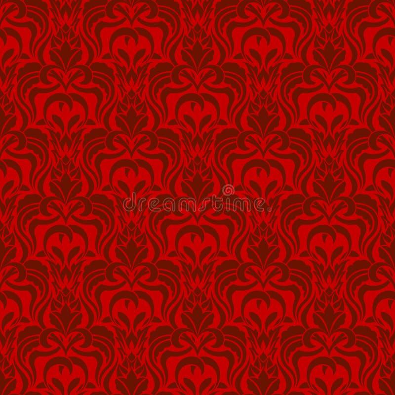 红色无缝的墙纸 库存例证