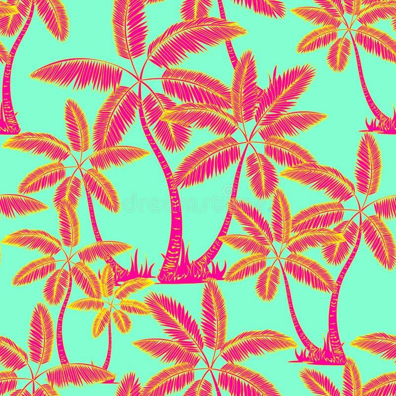 红色无缝的热带棕榈样式 棕榈树夏天不尽的手拉的传染媒介绿色背景可以为墙纸使用, 皇族释放例证