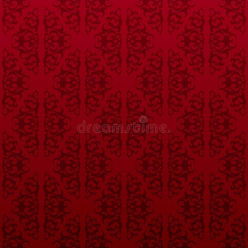 红色无缝的藤墙纸 向量例证