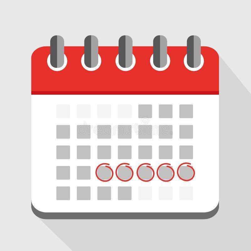红色日历与五个盘旋的日期 向量例证