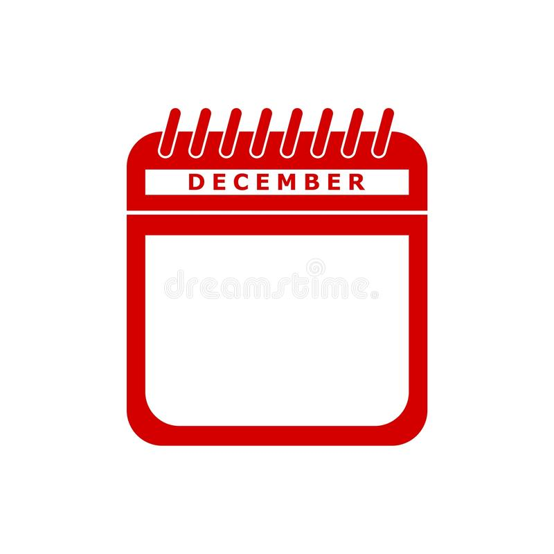 红色日历平的象传染媒介例证- 12月 向量例证