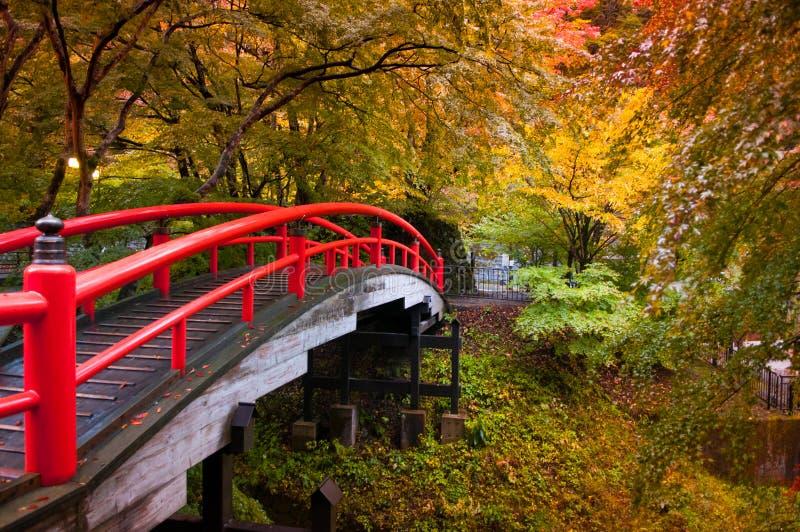 红色日本桥梁在伊香保Onsen,郡马,日本 库存图片