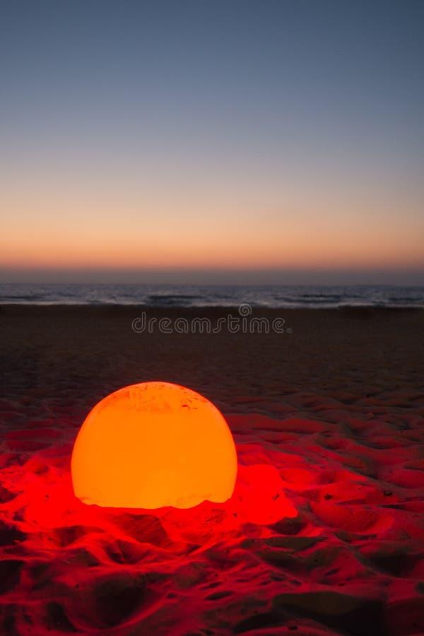 红色日落,海洋 免版税库存图片