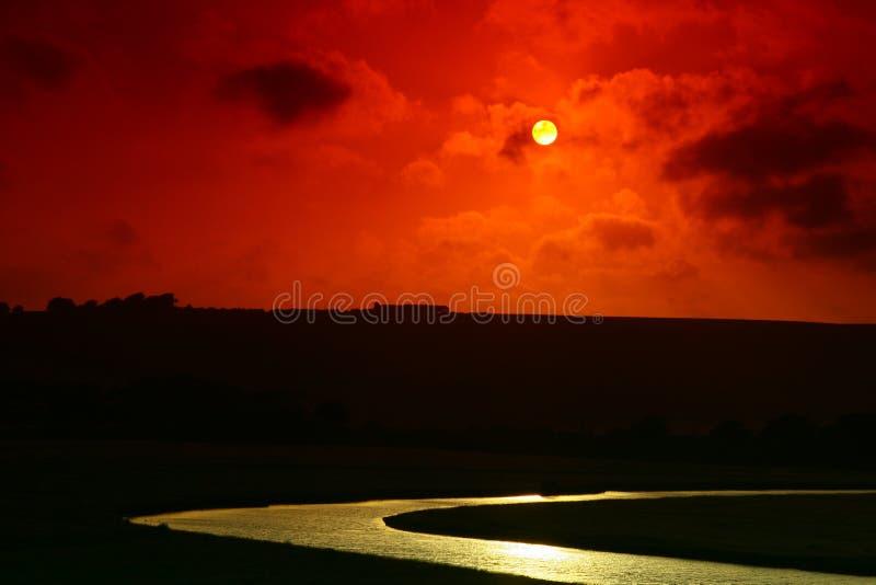红色日落 免版税图库摄影
