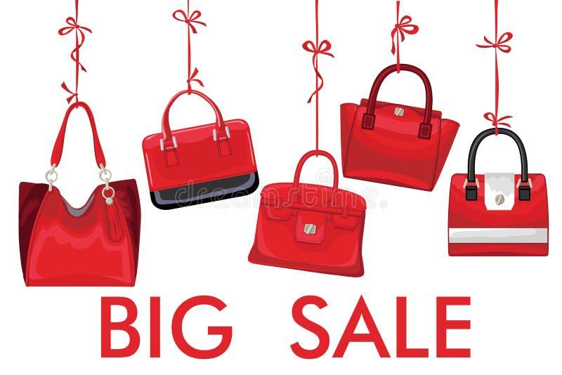 红色时尚妇女的在丝带的提包吊 大销售额 向量例证