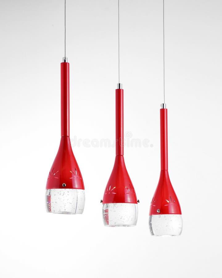 红色时兴的水晶带领了枝形吊灯 图库摄影