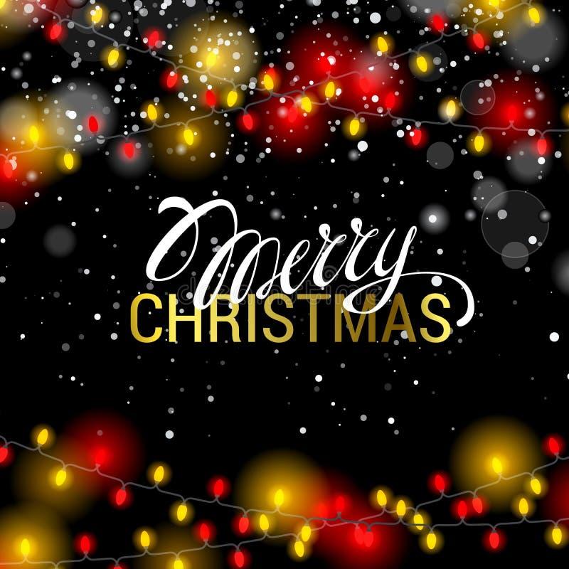 红色明亮的现实的诗歌选和黄色颜色 快活的圣诞节 向量例证
