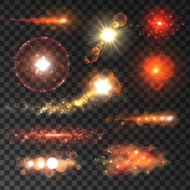 红色星和闪光与透镜火光作用 向量例证