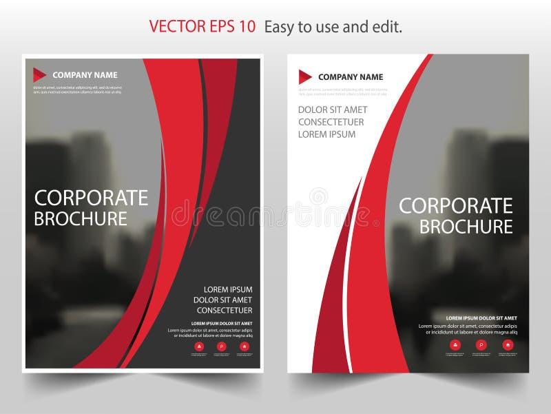 红色曲线传染媒介小册子年终报告传单飞行物模板设计,书套布局设计,抽象企业介绍 库存例证