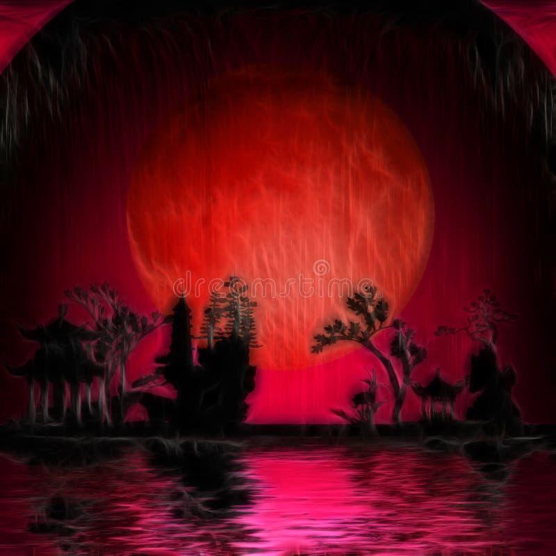 红色月亮亚洲 向量例证