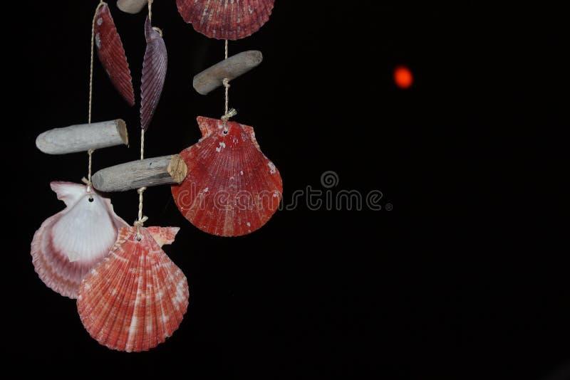 红色月亮和壳 免版税库存照片