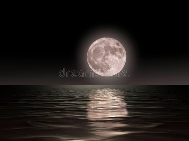 红色月亮risingon海 库存照片