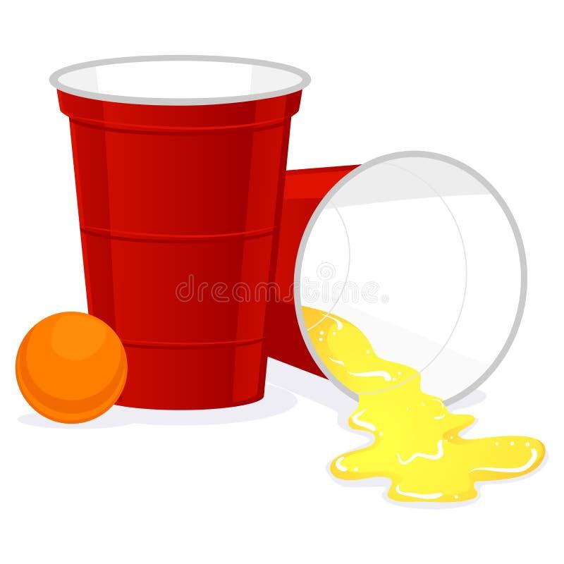 红色有啤酒球和溢出的啤酒Pong塑料杯子  皇族释放例证