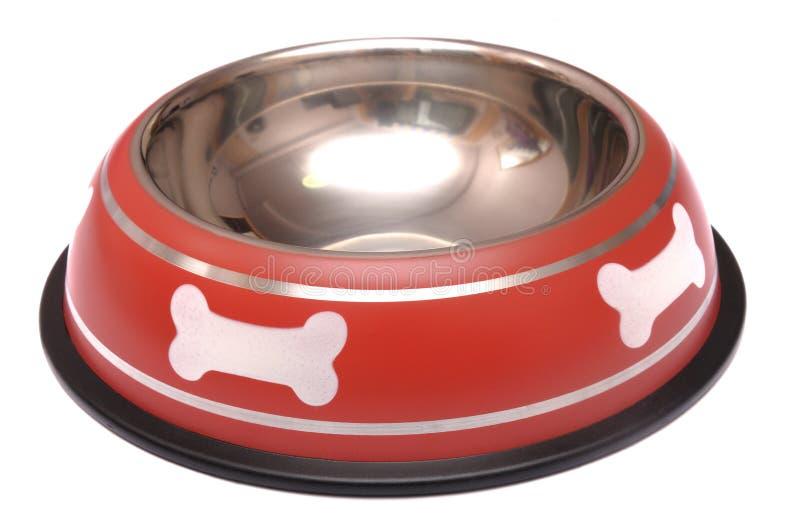 红色有摩擦橡胶的宠物哺养的碗 免版税图库摄影