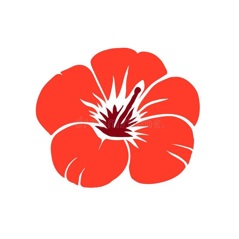 红色木槿花传染媒介例证 库存照片