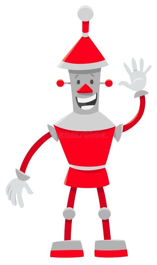 红色机器人动画片喜剧人物 向量例证