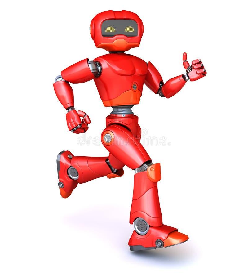 红色机器人运行中 向量例证