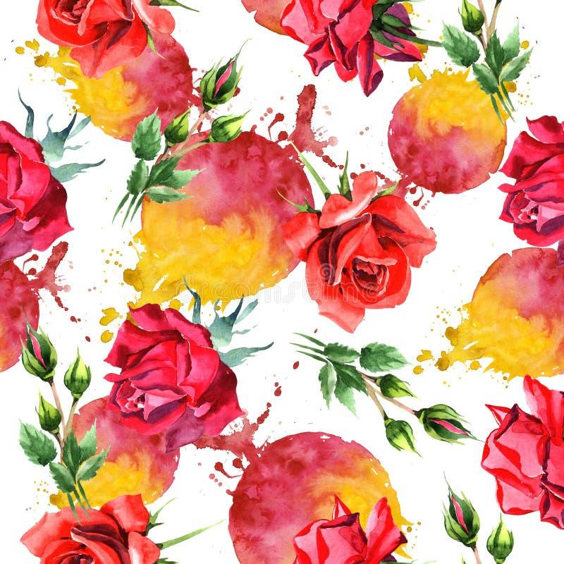 红色杂种上升了 花卉植物的花 无缝的背景模式 织品墙纸印刷品纹理 库存例证