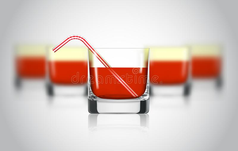 红色果汁玻璃 葡萄,石榴,蔓越桔有机饮料 健康的饮食 干净吃 高玻璃饮料 皇族释放例证