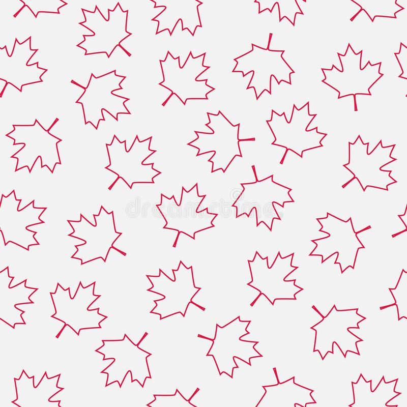 红色枫叶摘要概述无缝的样式 向量例证