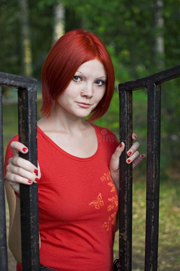 红色样式女孩 免版税库存图片