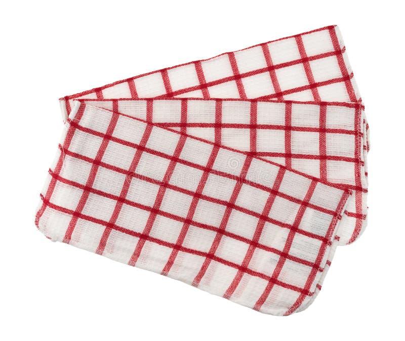 红色样式盘布料在白色背景折叠了 库存图片