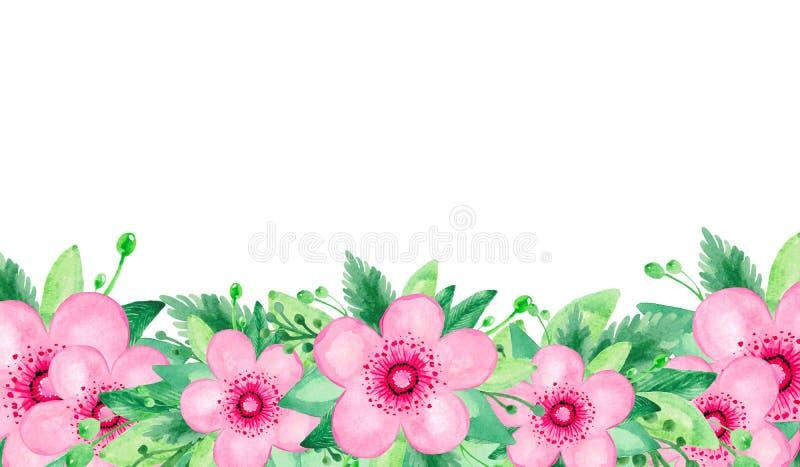 红色桃红色开花的樱桃词根绿色的水彩例证在白色背景留下花卉集合 皇族释放例证