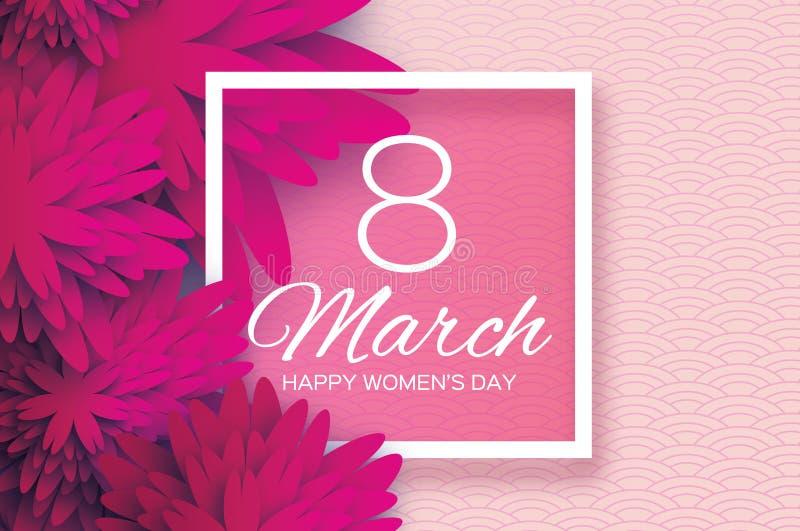 洋红色桃红色纸花 日s妇女 3月8日 正方形 向量例证