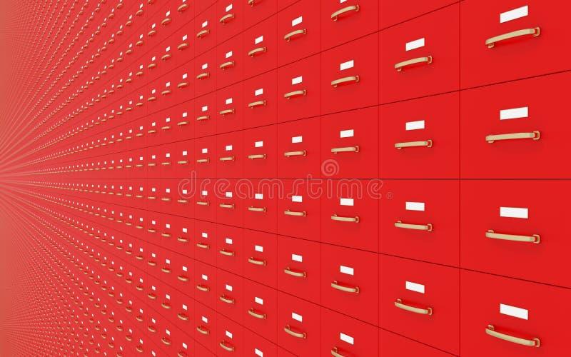红色档案橱柜墙壁  库存例证