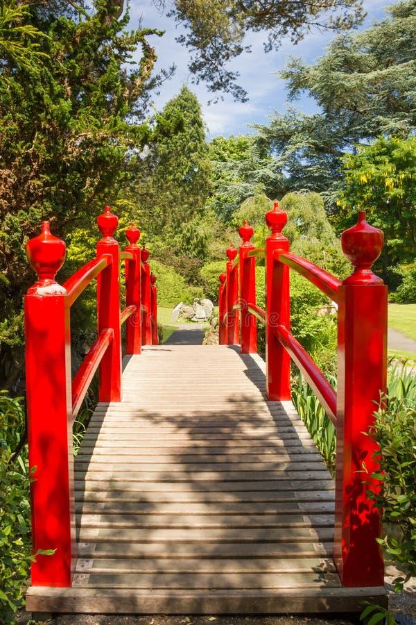 红色桥梁。爱尔兰全国螺柱的日本庭院。基尔代尔。爱尔兰 免版税图库摄影