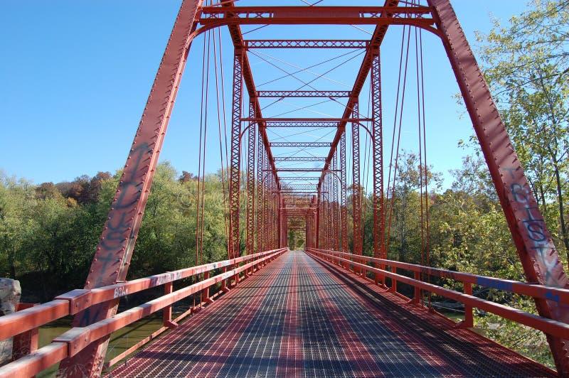 红色桥梁在印第安纳 免版税图库摄影