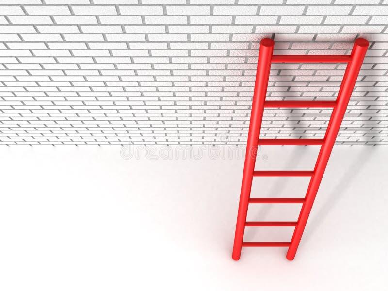 红色梯子倾斜对砖墙 向量例证