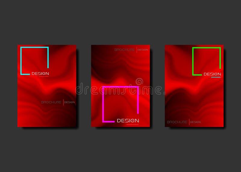 红色梯度流动海报设置了酷的小册子液体颜色背景设计 E 创造性的飞行物液体 向量例证