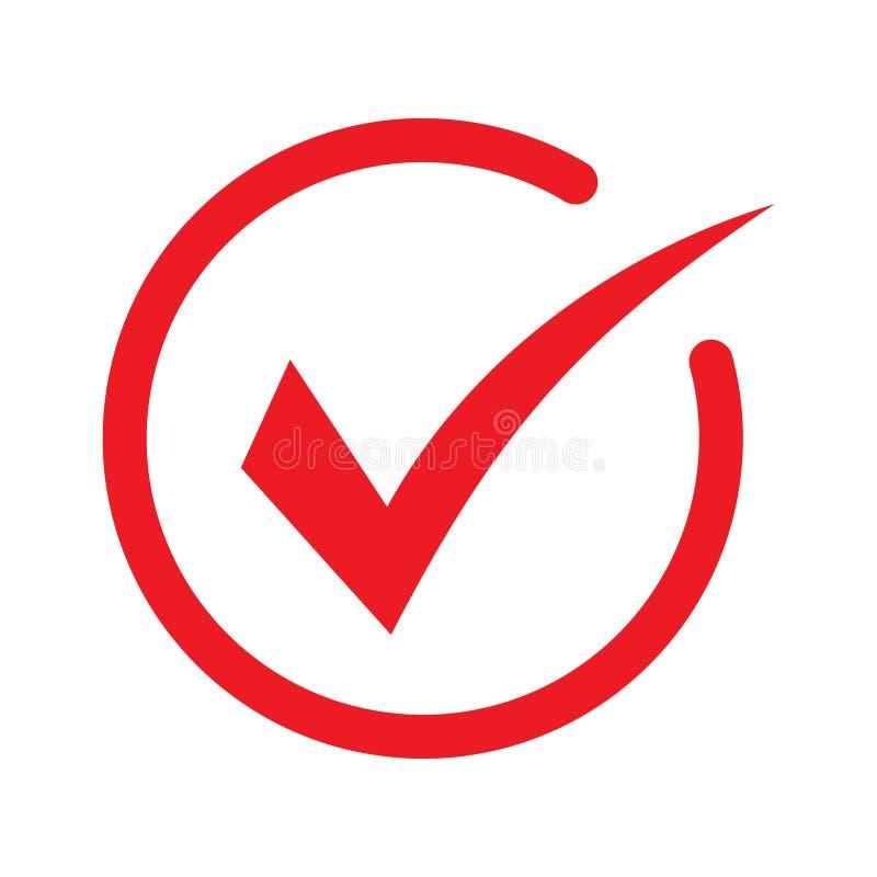 """红色检查图标 复选标记向量 批准的符号 """"确定""""图标 检查按钮符号 刻度图标 检查点 最现代的平面图 皇族释放例证"""