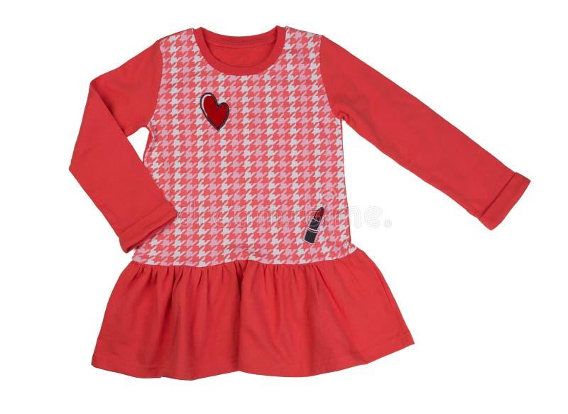红色棉花礼服 在白色的孤立 图库摄影