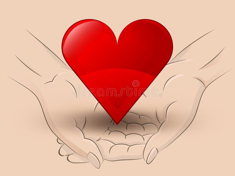 红色横跨传染媒介的心脏象举行两人的手 库存例证