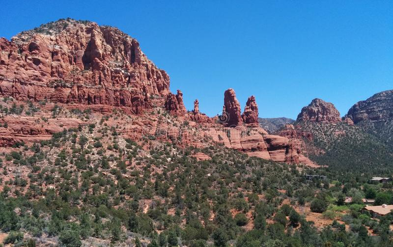 红色橙色岩层在塞多纳,AZ 免版税库存图片