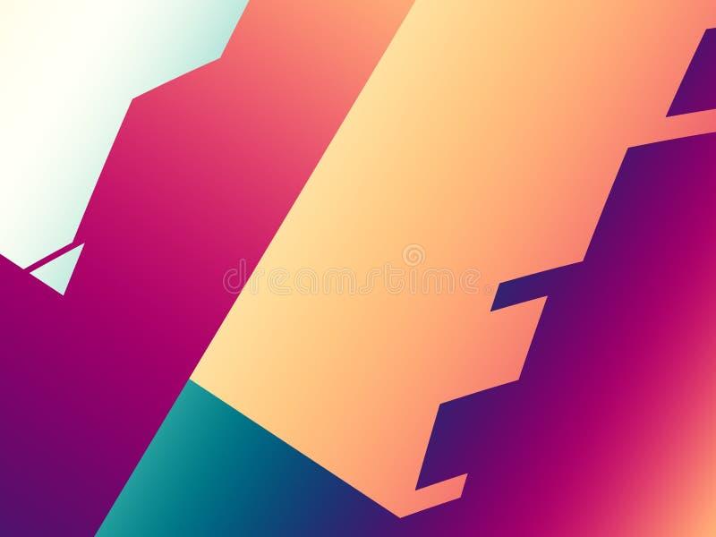 红色橙色现代抽象分数维艺术 无缝背景五颜六色的例证的模式 不规则形状样式 创造性的图表模板, fre 向量例证