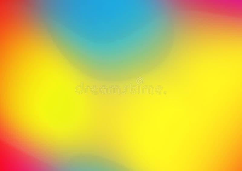 红色橙黄色蓝色明亮的梯度五颜六色的水平的横幅水彩纹理背景 免版税库存图片