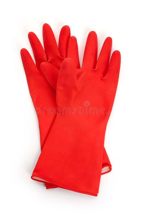 红色橡胶手套 图库摄影