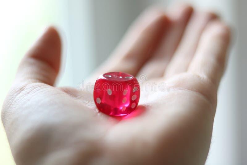 红色比赛模子在一只开放手上 演奏比赛概念 r 库存图片